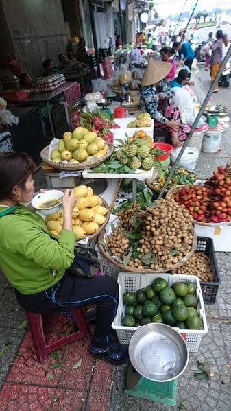 Street traders at the Han market, Danang