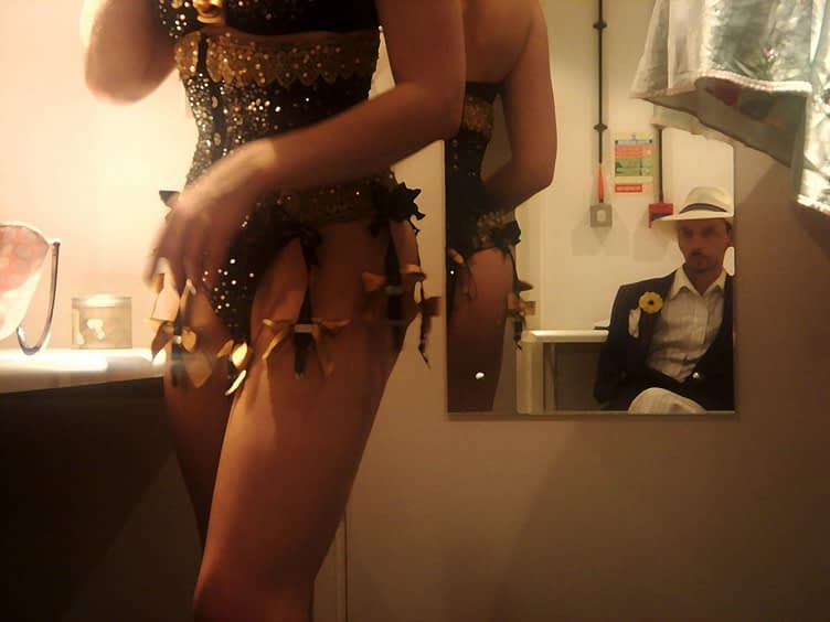 Working late in the office. Backstage at the Pigalle supper club (at Piccadilly Circus) as a floor-warmer and taxi dancer and sharing a changing room with the burlesque performer; Gwendoline Lamour, 2006