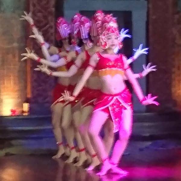 A demonstration of traditional Cham Apsara dance in a theatre which forms part of the tourist centre at My Son