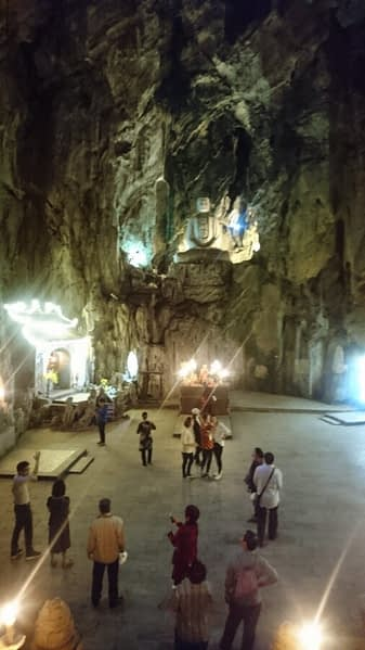 Some of the caves in the Marble Mountains, and the statues and temples carved inside them, are very large