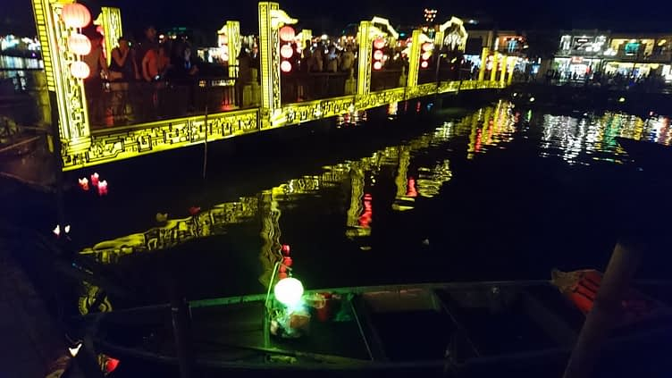 Come nightfall in Hoi An it seems everything lights up including the bridges and the boats