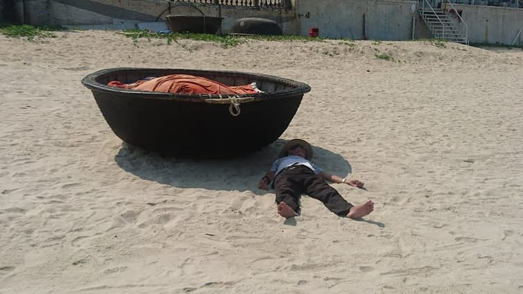 Man down! The coracles used by the fishermen are designed to look like 'baskets', a historical dodge of a tax on boats