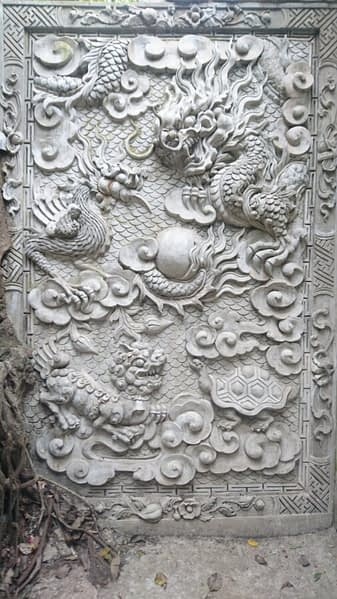Fantastic creatures carved in the limestone and marble of the Marble Mountains, Da Nang