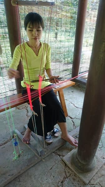 A demonstration of traditional weaving at My Son