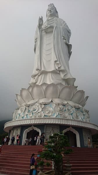 The Lady Buddha is at the Linh Ung Pagoda on the Son Tra Peninsula and was completed in 2010. She gazes serenely out to sea to calm the monsoon storms