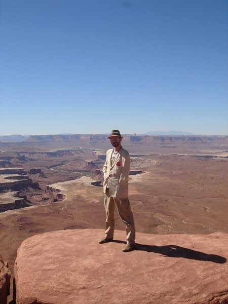 At one of the dramatic overlooks of the Grand Canyon in Dead Horse Point State Park, while on a filming job for the Discovery Channel, April 2007