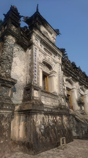The black discolouration on the architecture is caused by the Vietnamese weather