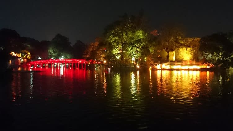 The Ngoc Son Temple, located on island in Hoan Kiem lake