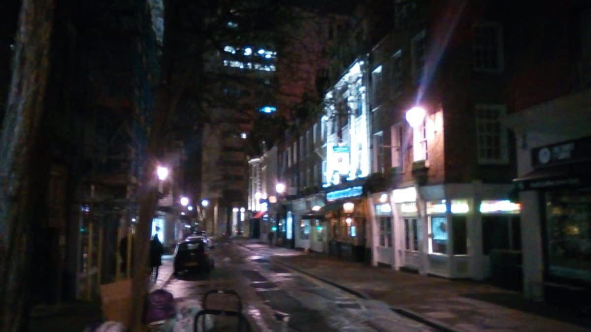 Monmouth Street, Covent Garden, deserted at 8:00pm on a Sunday evening, 15 March 2020