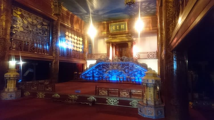 The reconstruction of the Emperor's Theatre inside the Forbidden Purple City; the original was destroyed during the French invasion in 1947