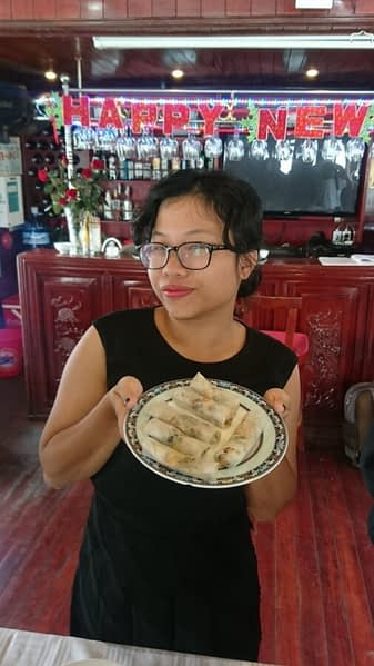 Our Halong Bay tour came with a number of entertainments including a lesson in how to cook spring rolls like a native. Unsurprisingly, Ti aced this...