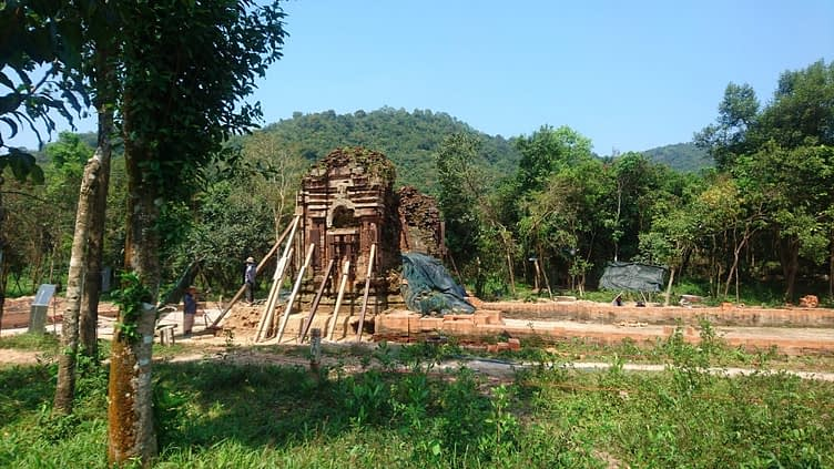 There is much work in progress to stabilise and restore the ancient temples at My Son, which have survived centuries of weather and war and most recently, carpet bombing by the American airforce