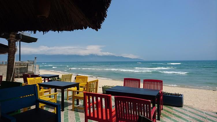 A terrace bar on a near deserted My Khe beach