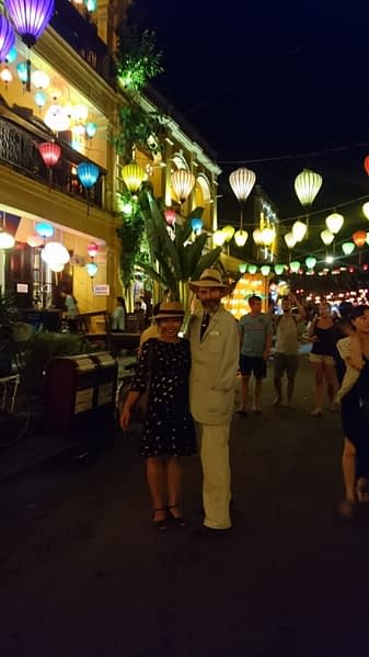 Ti and I taking an evening promenade under the Hoi An lanterns