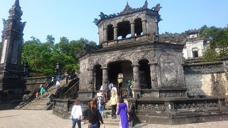 The stele pavilion is an octagonal building celebrating Khai Dinh's achievements